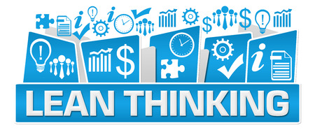 Lean Thinking Business Symbols On Top Blue Stock Photo - 118847681