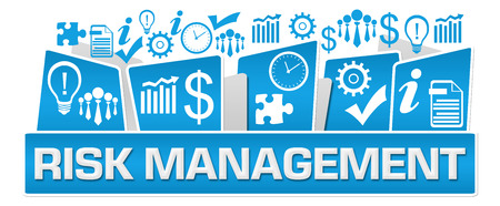 Risk Management Business Symbols On Top Blue Stock Photo - 118847683