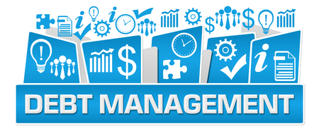 Debt Management Business Symbols On Top Blue Stock Photo - 118847690