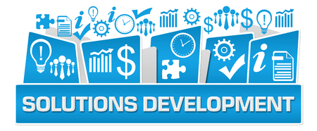 Solutions Development Business Symbols On Top Blue