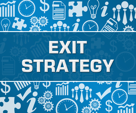 Exit Strategy Business Symbols Texture Blue Background Square Stock Photo