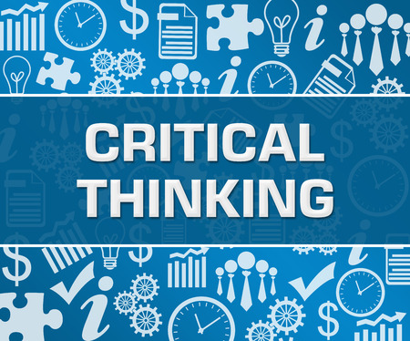 Critical Thinking Business Symbols Texture Blue Background Square