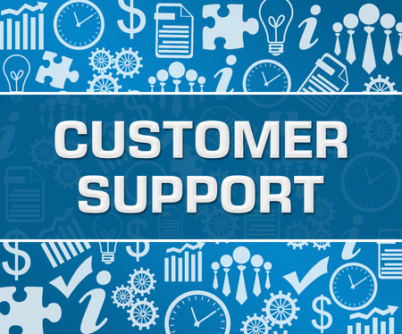Customer Support Business Symbols Texture Blue Background Square