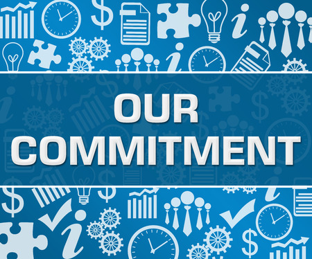 Our Commitment Business Symbols Texture Blue Background Square Stock Photo - 118847707