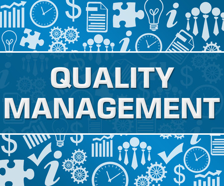 Quality Management Business Symbols Texture Blue Background Square Stock Photo