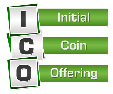 ICO - Initial Coin Offering Green Grey Squares Vertical