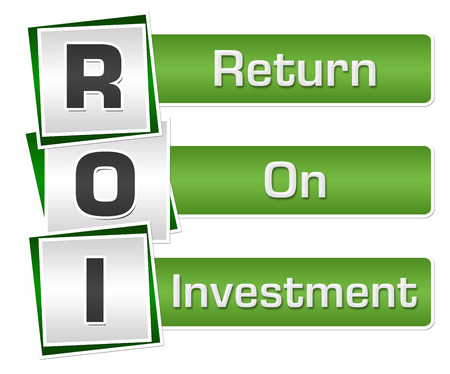 ROI - Return On Investment Green Grey Squares Vertical