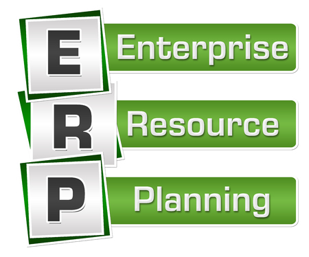 ERP - Enterprise Resource Planning Green Grey Squares Vertical