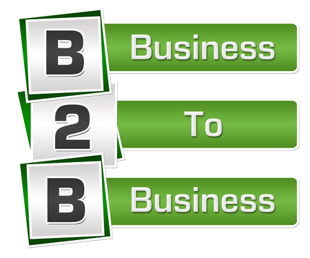 B2B - Business To Business Green Grey Squares Vertical