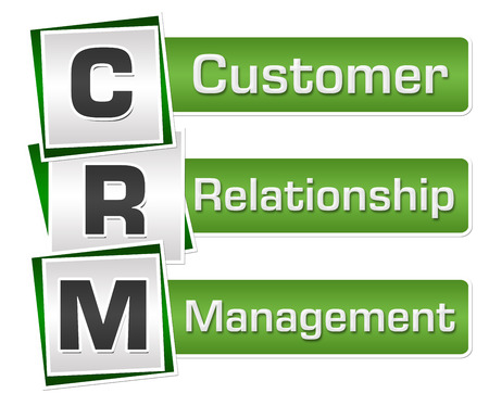 CRM - Customer Relationship Management Green Grey Squares Vertical Stock Photo