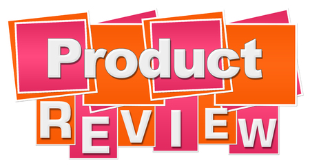 Product Review Orange Pink Squares Stripes Stock Photo