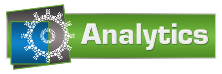Analytics Dotted Gear Green Blue Squares Horizontal