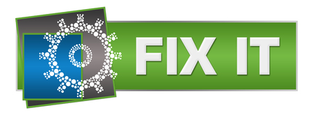 Fix It Dotted Gear Green Blue Squares Horizontal