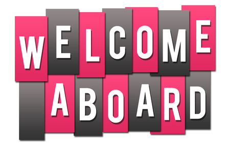 Welcome Aboard Pink Grey Stripes Group