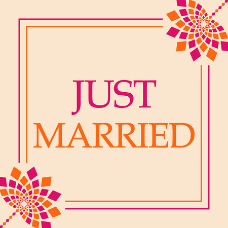 Just Married Pink Orange Floral Square Stock Photo