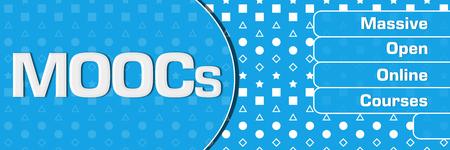 MOOCs - Massive Open Online Courses Blue Basic Shapes Text Horizontal 스톡 콘텐츠