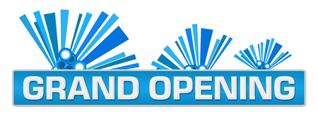 Grand Opening Blue Abstract Graphics On Top Stock Photo