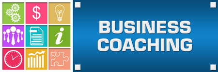 Business Coaching Colorful Business Grid Blue Right Stock Photo