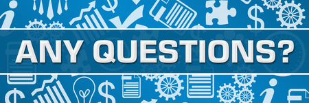 Any Questions Business Symbols Texture Blue Horizontal