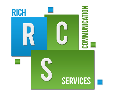 RCS - Rich Communication Services Green Blue Squares Text