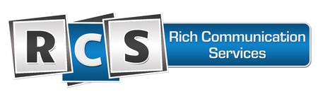 RCS - Rich Communication Services Blue Grey Squares Bar Stock Photo