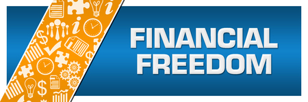 Financial Freedom Orange Business Element Blue Left Side