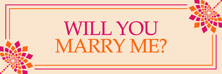 Will You Marry Me Pink Orange Floral Horizontal