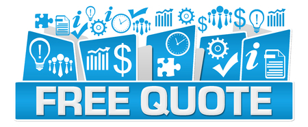 Free Quote Business Symbols On Top Blue