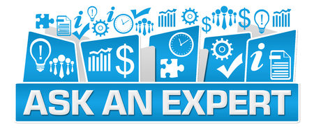 Ask An Expert Business Symbols On Top Blue Stock Photo