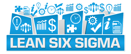 Lean Six Sigma Business Symbols On Top Blue