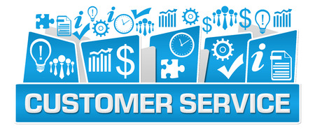 Customer Service Business Symbols On Top Blue Stock Photo