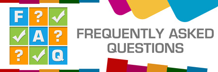 FAQ - Frequently Asked Questions Colorful Random Shapes Horizontal