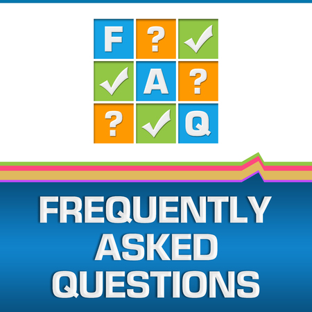 FAQ - Frequently Asked Questions Bottom Text Blue Colorful