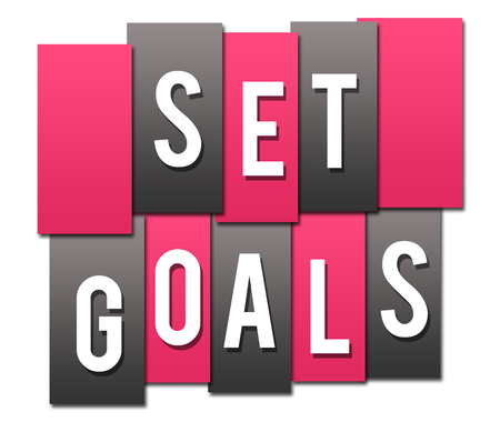 Set Goals Pink Grey Stripes Group