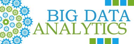 Big Data Analytics Green Blue Circular Gears Horizontal