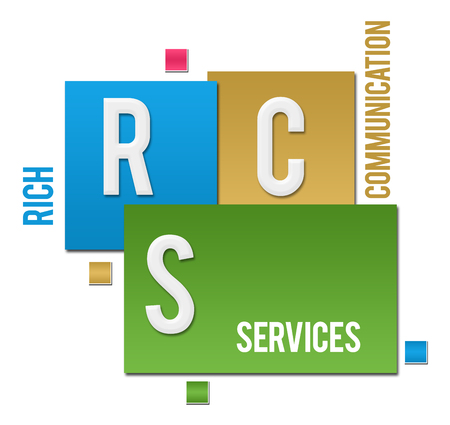 RCS - Rich Communication Services Colorful Squares Text