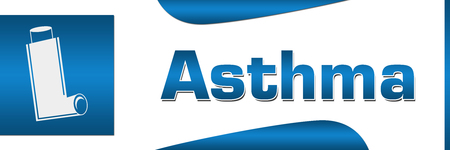 Asthma Blue Square Horizontal Stock Photo