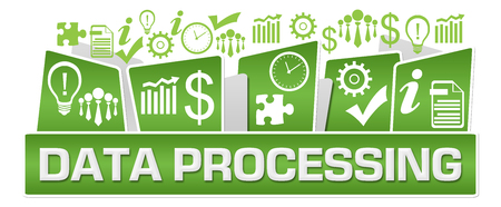 Data Processing Business Symbols On Top Green