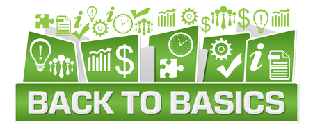 Back To Basics Business Symbols On Top Green Stock Photo