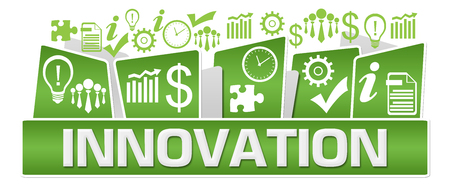 Innovation Business Symbols On Top Green