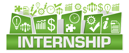 Internship Business Symbols On Top Green