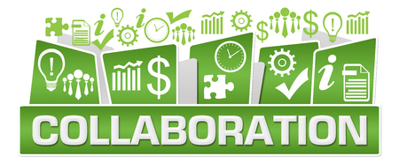 Collaboration Business Symbols On Top Green