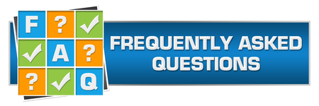 FAQ - Frequently Asked Questions Colorful Grid Blue Horizontal
