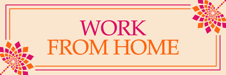 Work From Home Pink Orange Floral Horizontal