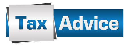 Tax Advice Blue Grey Horizontal Standard-Bild
