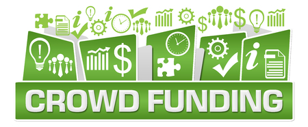 Crowd Funding Business Symbols On Top Green