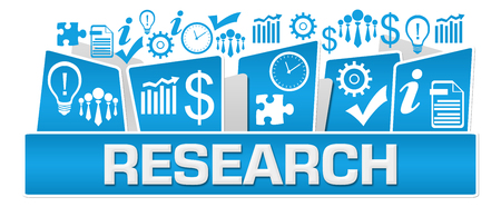 Research Business Symbols On Top Blue