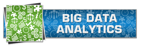 Big Data Analytics Green Left Symbols Blue Text