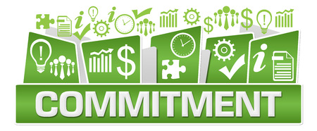Commitment Business Symbols On Top Green