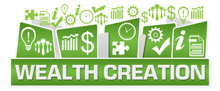 Wealth Creation Business Symbols On Top Green